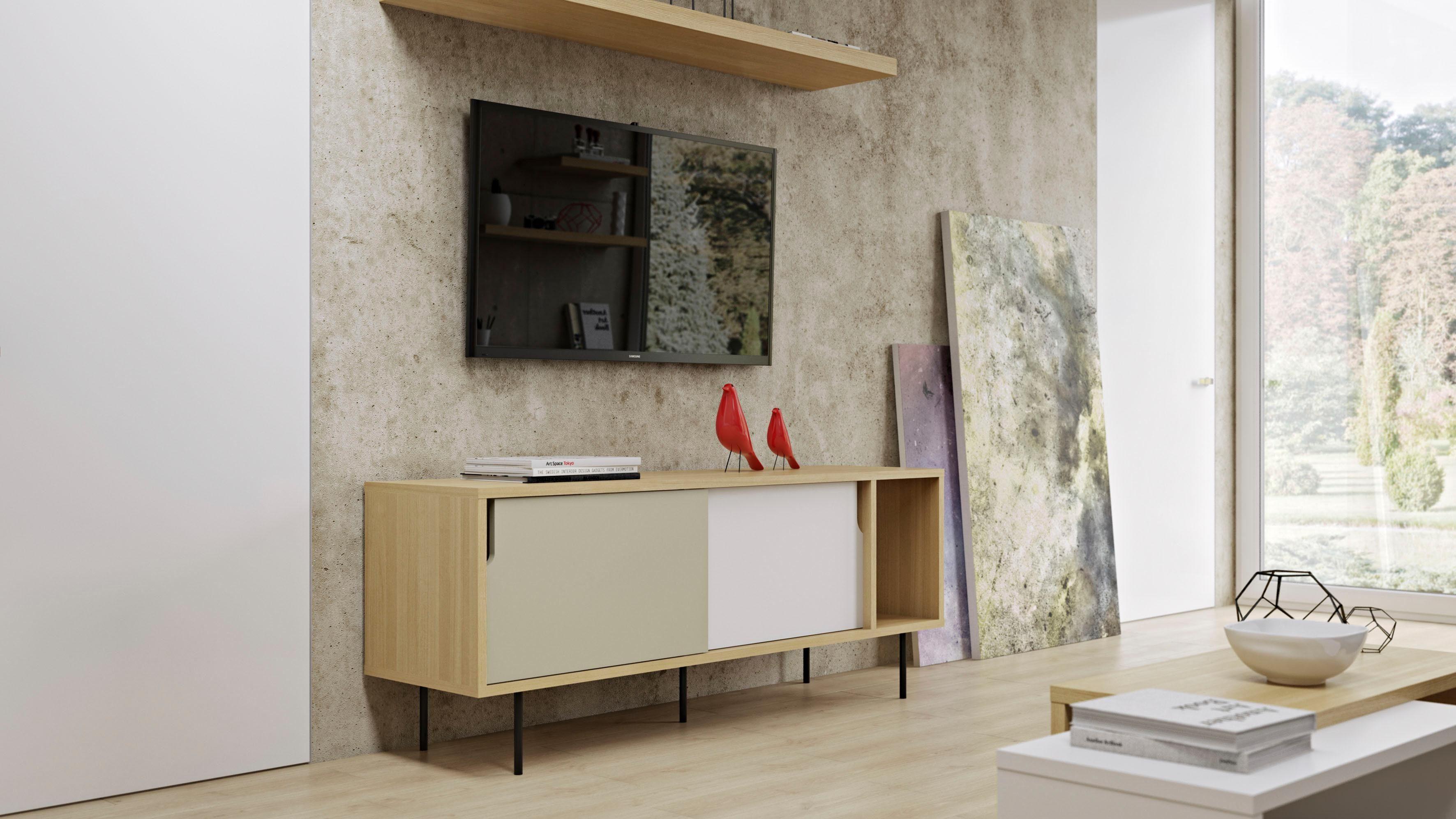 Credenza Dann : Dann credenza con finitura in bianco e quercia moderna