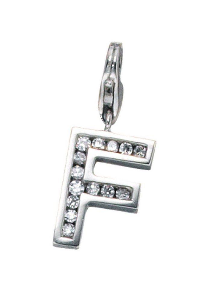 Adelia´s Kettenanhänger »Buchstabenanhänger F Anhänger« 925 Silber mit Zirkonia