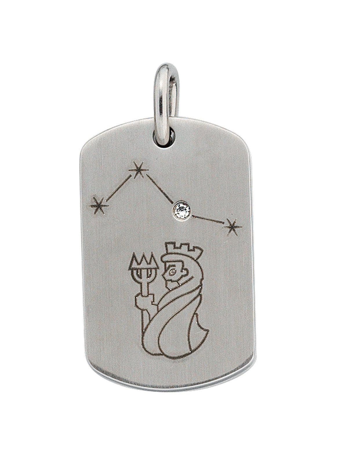 Adelia´s Kettenanhänger »Sternzeichen Wassermann Anhänger«, Edelstahl mit Zirkonia