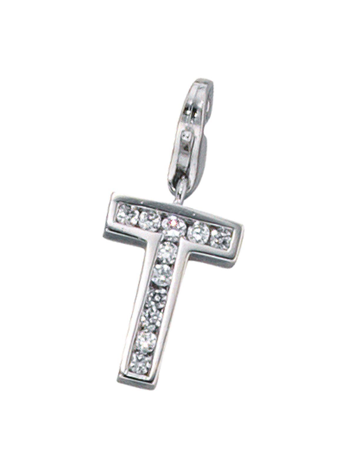 Adelia´s Kettenanhänger »Buchstabenanhänger T Anhänger« 925 Silber mit Zirkonia