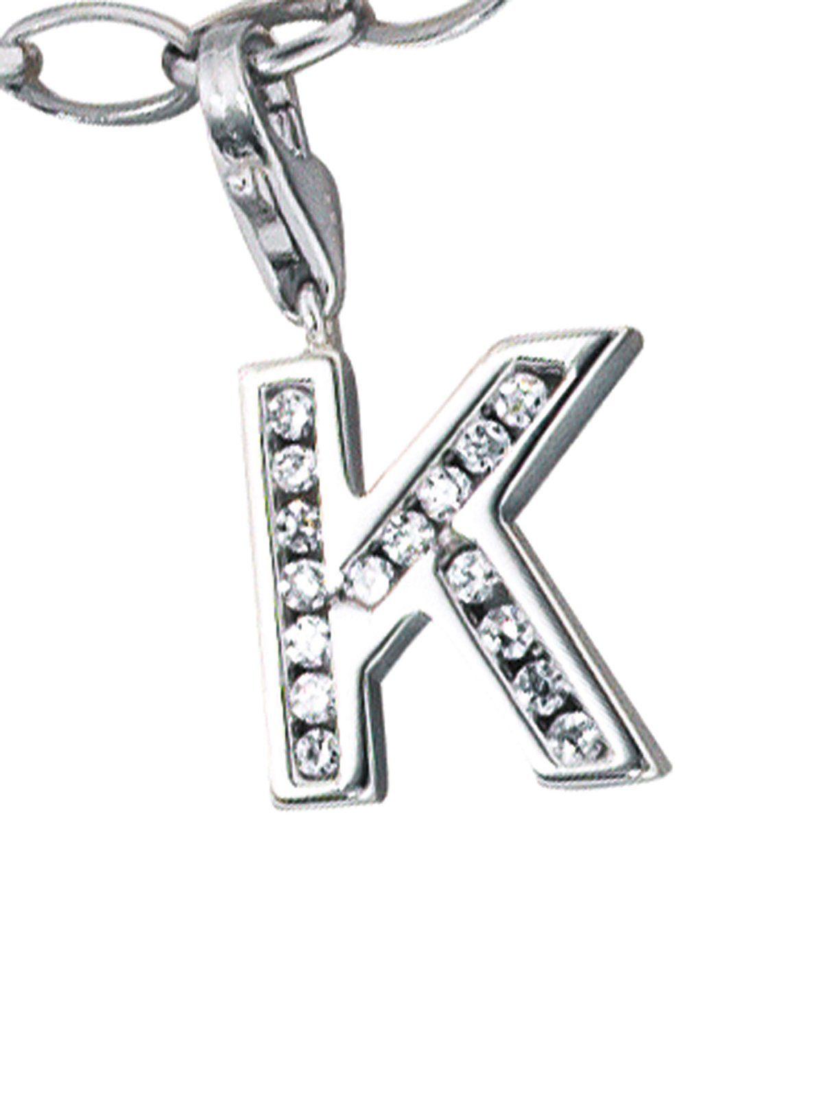 Adelia´s Kettenanhänger »Buchstabenanhänger K Anhänger« 925 Silber mit Zirkonia