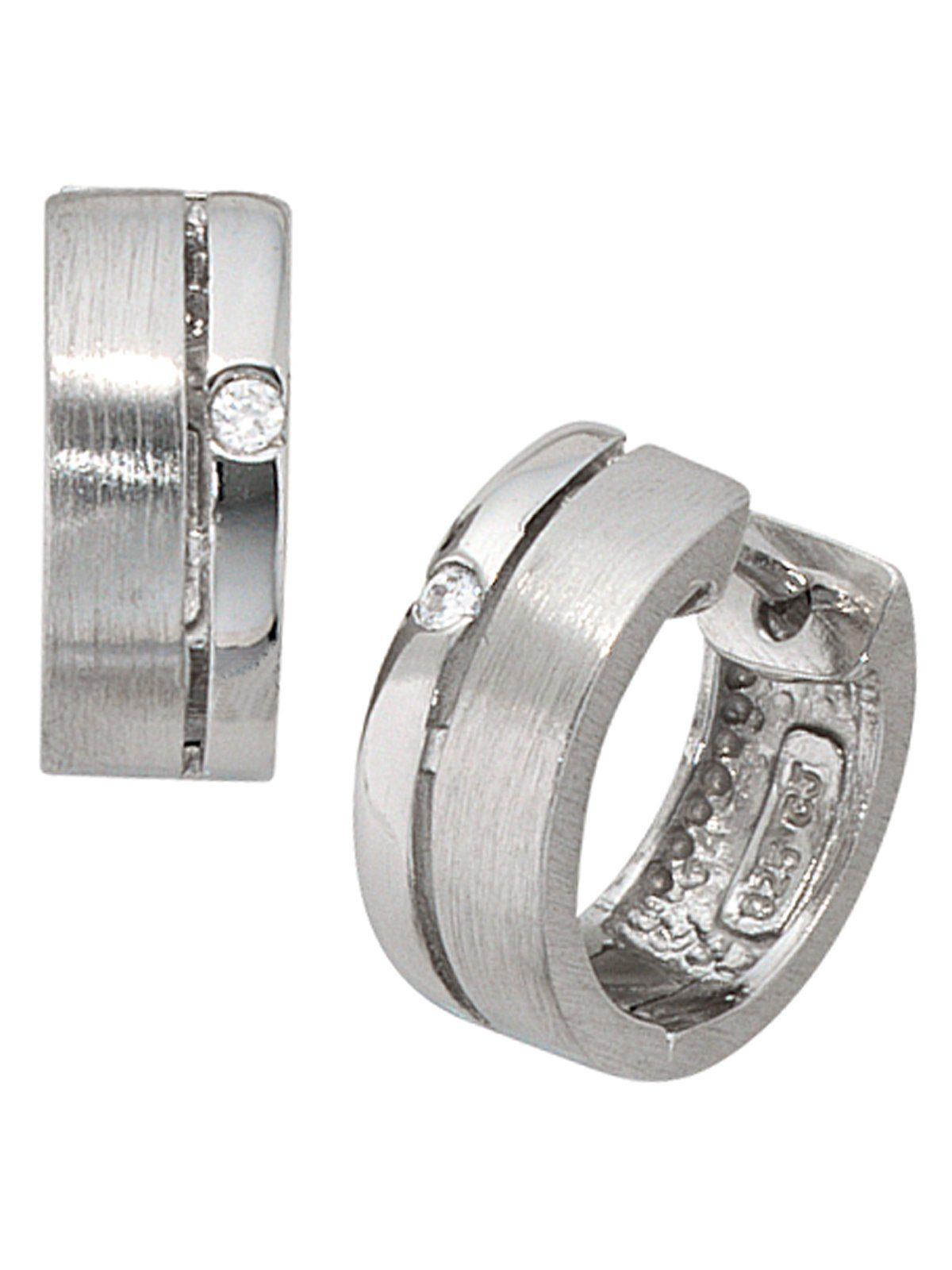 Adelia´s Paar Creolen 925 Silber mit Zirkonia Ø 14,50 mm