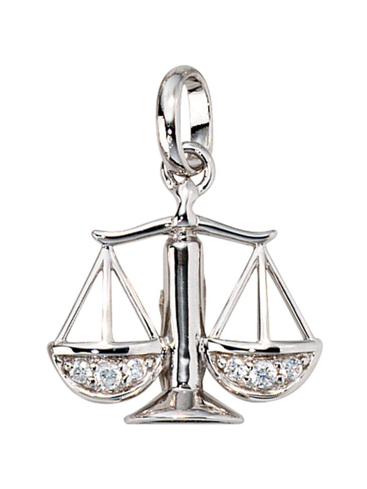 Adelia´s Sternzeichenanhänger »Sternzeichen Waage Anhänger« 925 Silber mit Zirkonia