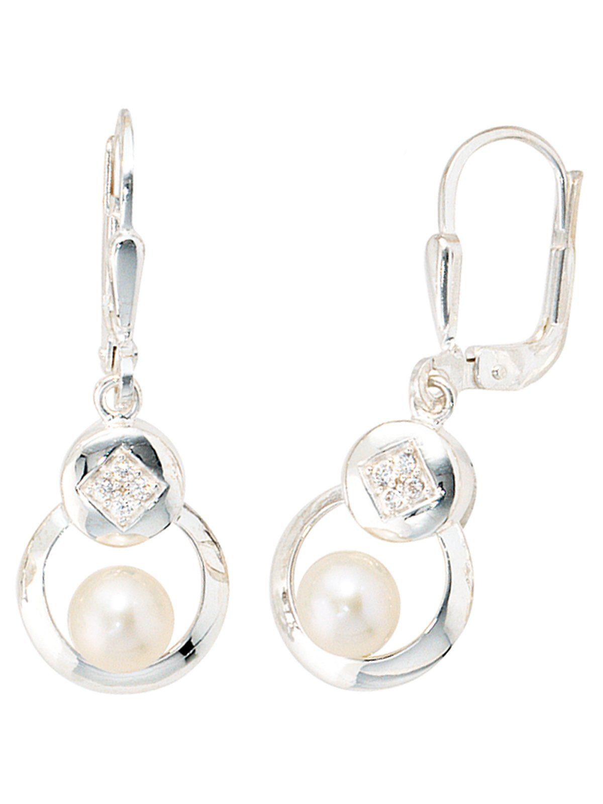 Adelia´s Paar Ohrhänger 925 Silber mit Zirkonia mit Süßwasser - Zuchtperle