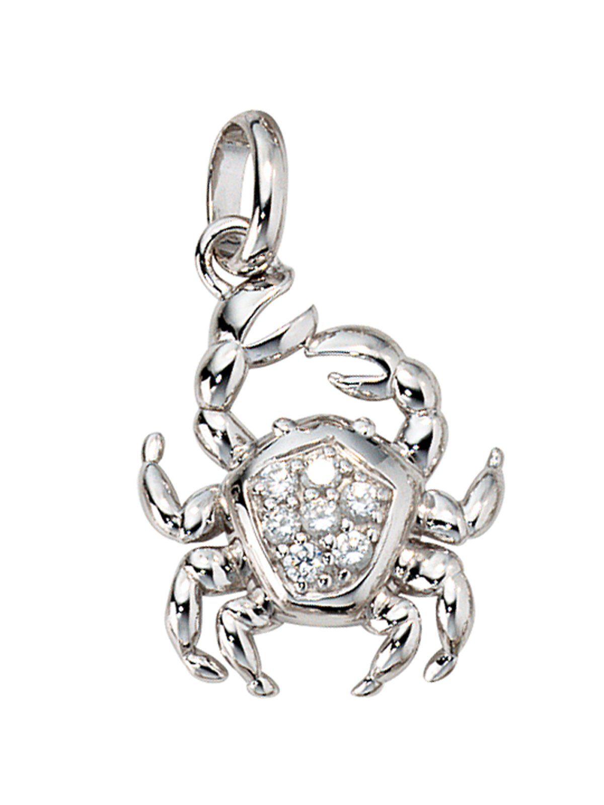 Adelia´s Sternzeichenanhänger »Sternzeichen Krebs Anhänger« 925 Silber mit Zirkonia