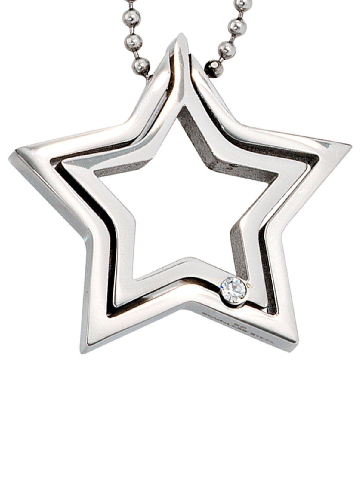 Adelia´s Kettenanhänger »Stern Anhänger«, Edelstahl mit Kristall L - 48 cm