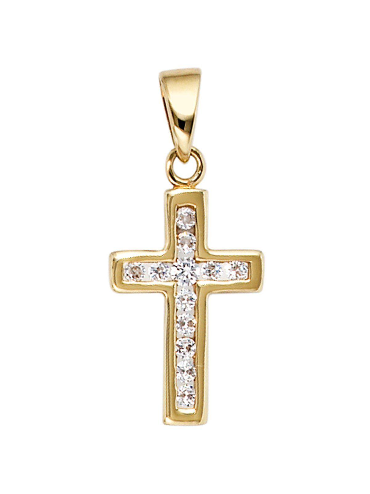 Adelia´s Kettenanhänger »Kreuz Anhänger«, 333 Gold mit Zirkonia