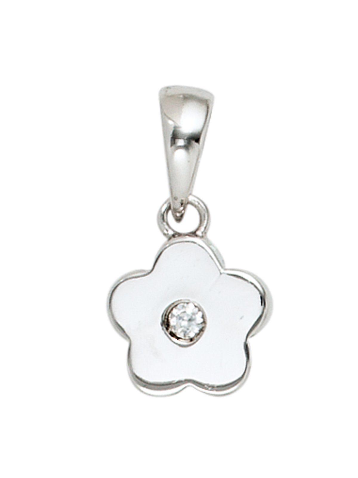 Adelia´s Kettenanhänger »Blume Anhänger« 925 Silber mit Zirkonia