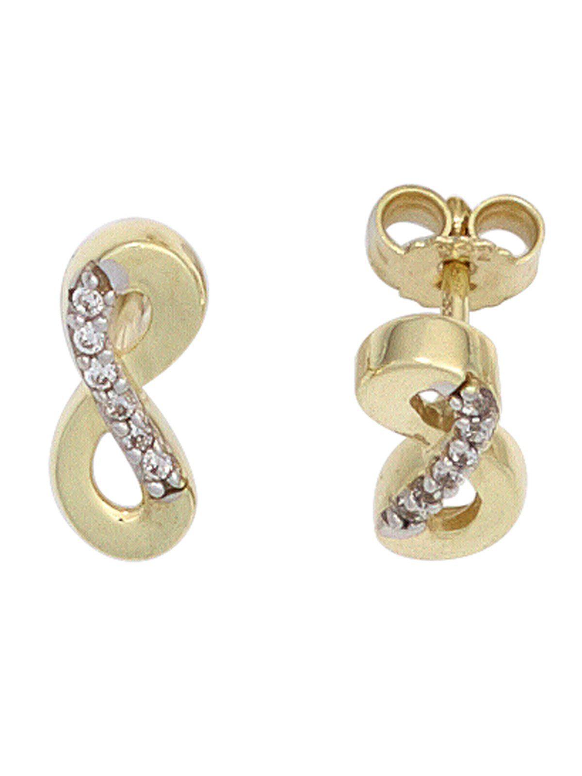 Adelia´s Paar Ohrstecker »Unendlich« 333 Gold mit Zirkonia