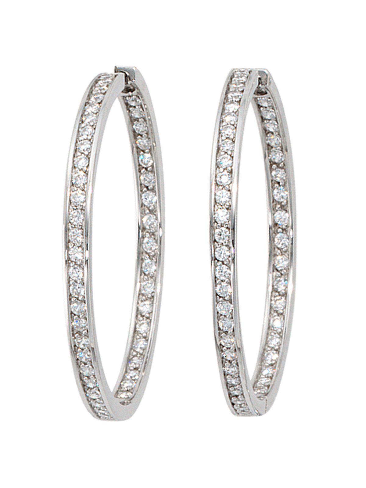Adelia´s Paar Creolen 925 Silber mit Zirkonia Ø 38,50 mm