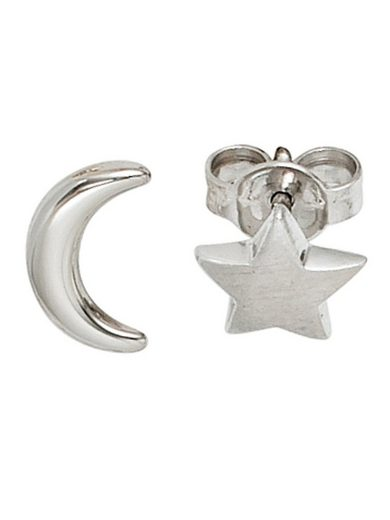 Adelia´s Paar Ohrstecker »Mond / Stern« 925 Silber