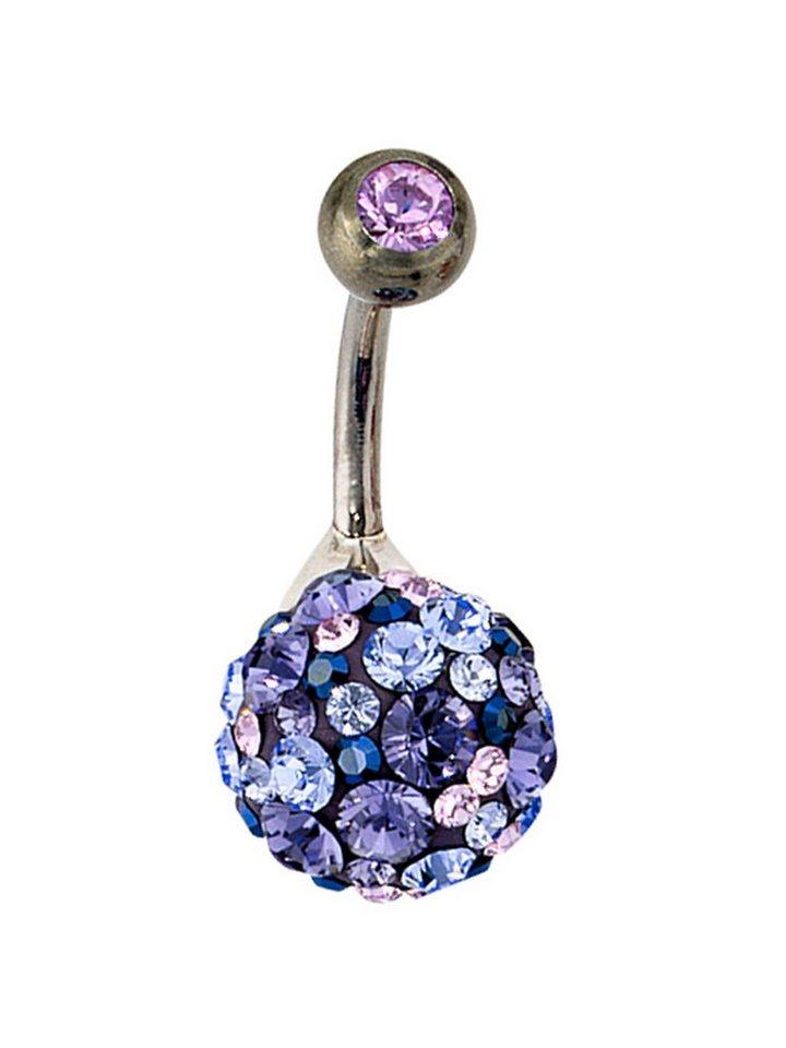 Adelia´s Bauchnabelpiercing 925 Silber mit Swarovski Kristall Ø 10,50 mm | Schmuck > Piercings | Adelia´s