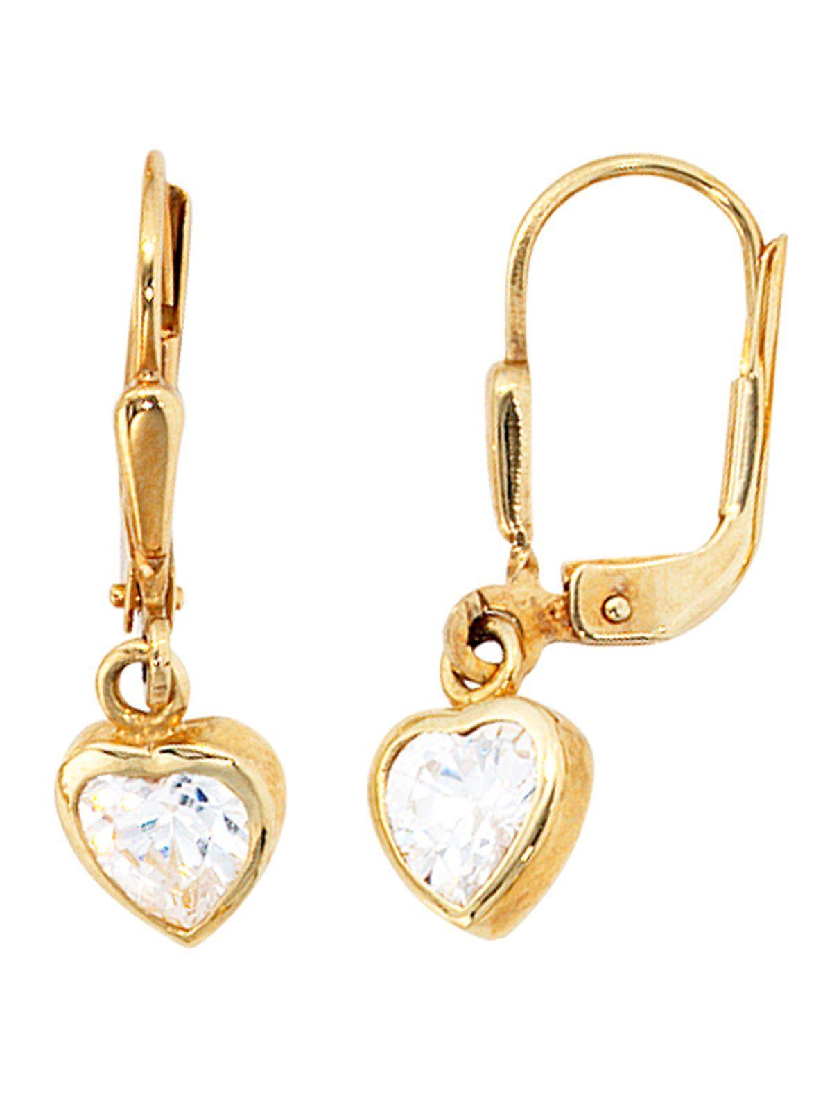 Adelia´s Paar Ohrhänger 333 Gold mit Zirkonia