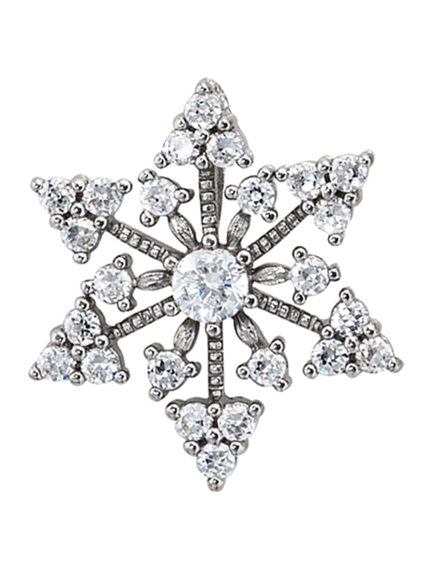 Adelia´s Kettenanhänger »Schneeflocke Anhänger« 925 Silber mit Zirkonia