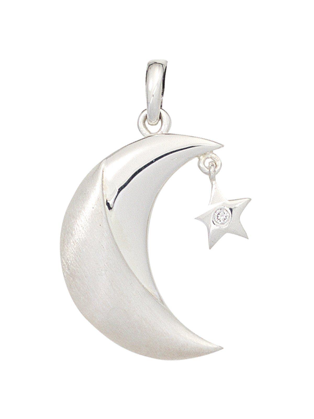 Adelia´s Kettenanhänger »Mond Anhänger« 925 Silber mit Zirkonia