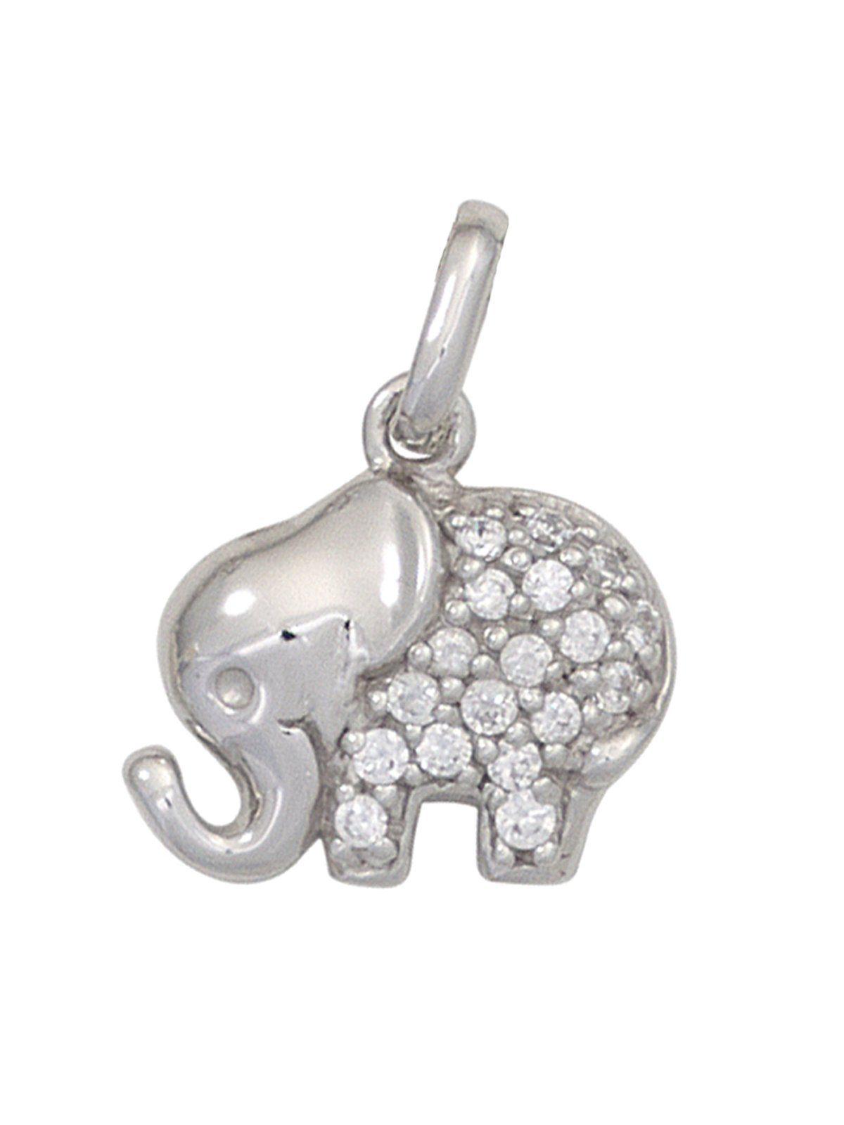 Adelia´s Kettenanhänger »Elefant Anhänger« 925 Silber mit Zirkonia