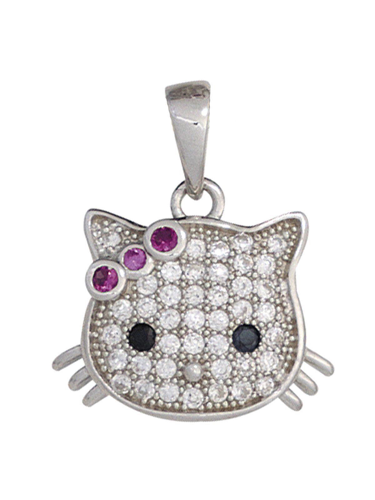 Adelia´s Kettenanhänger »Katze Anhänger« 925 Silber mit Zirkonia