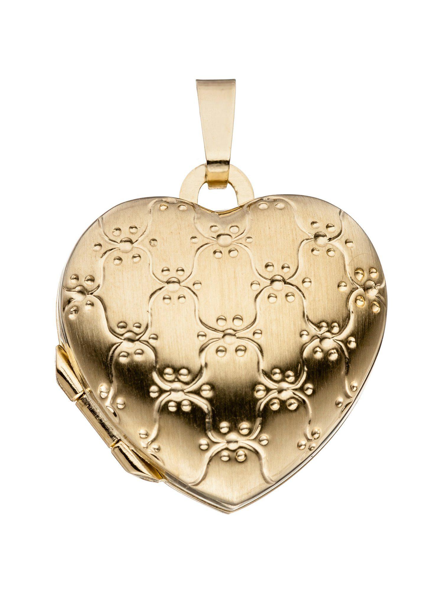 Adelia´s Kettenanhänger »Medaillon Herz Anhänger«, 333 Gold
