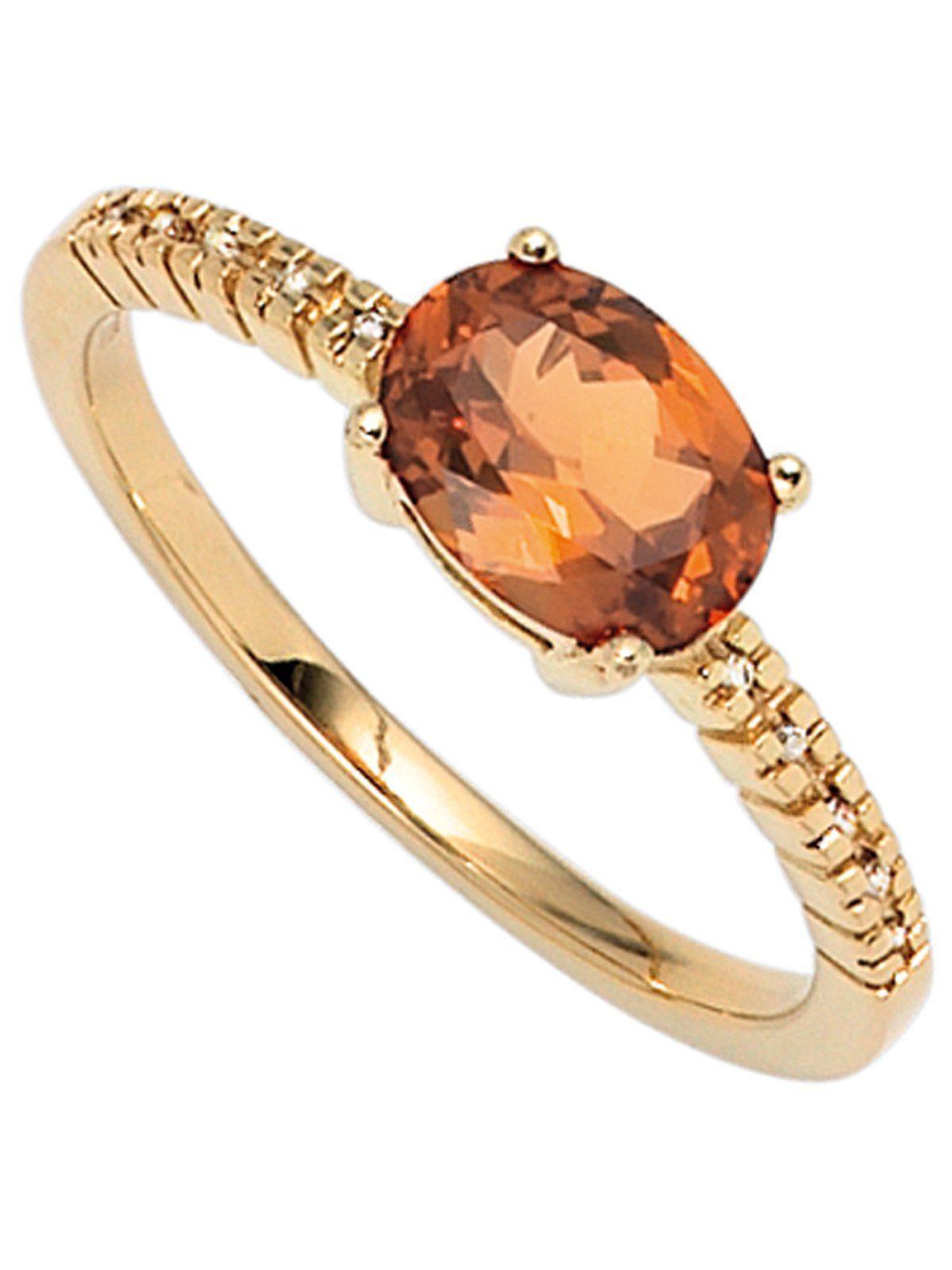 Adelia´s Diamantring 585 Gold mit Diamant Granat
