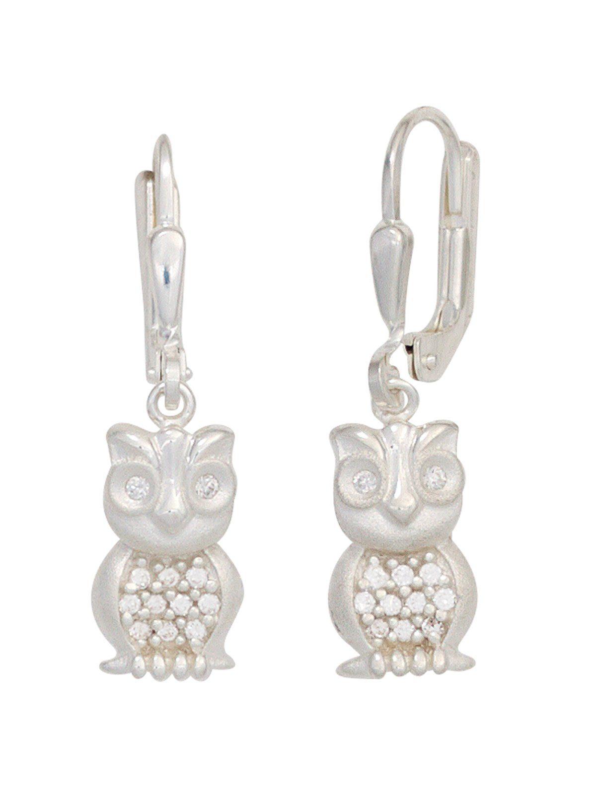 Adelia´s Paar Ohrhänger »Eule« 925 Silber mit Zirkonia
