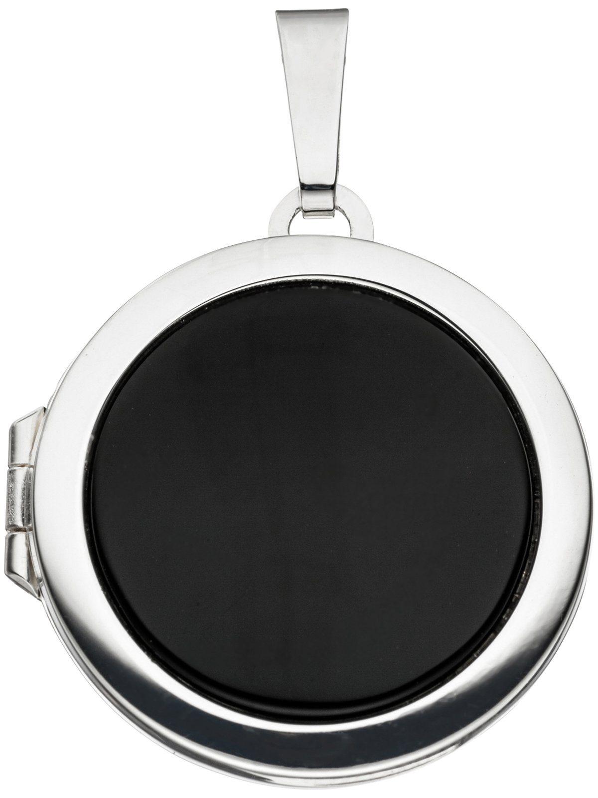 Adelia´s Kettenanhänger »Medaillon Anhänger« 925 Silber mit Onyx Ø 21,50 mm