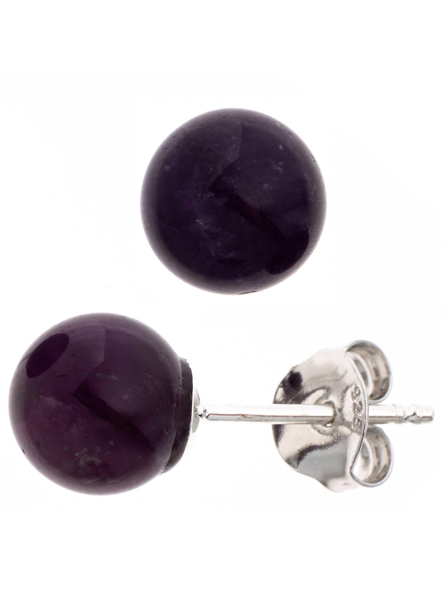 Adelia´s Paar Ohrstecker, 925 Silber mit Amethyst