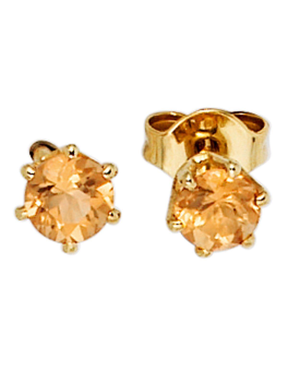 Adelia´s Paar Ohrstecker, 585 Gold mit Citrin Ø 4,40 mm