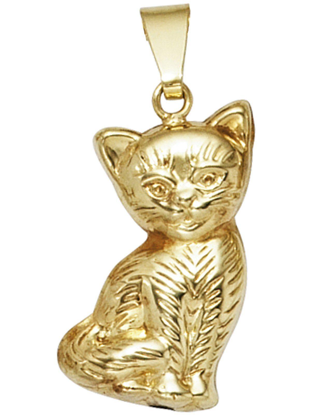 Adelia´s Kettenanhänger »Katze Anhänger« 333 Gold