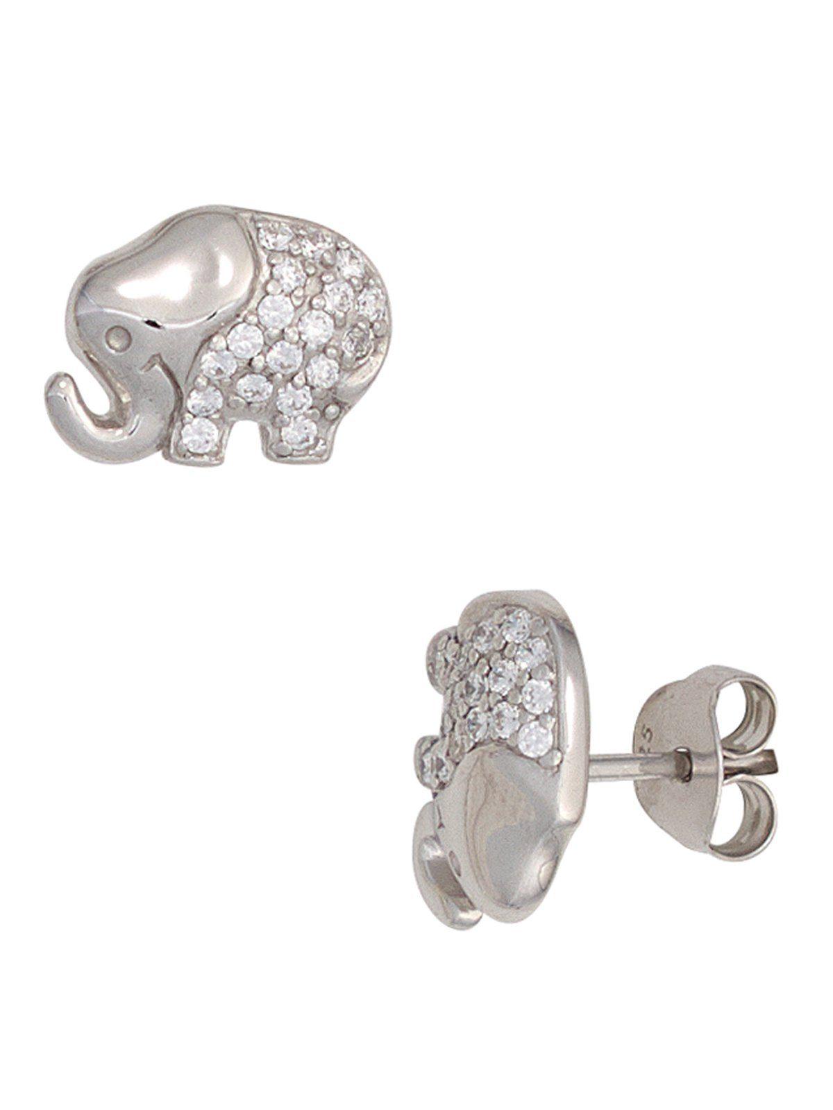 Adelia´s Paar Ohrstecker »Elefant« 925 Silber mit Zirkonia