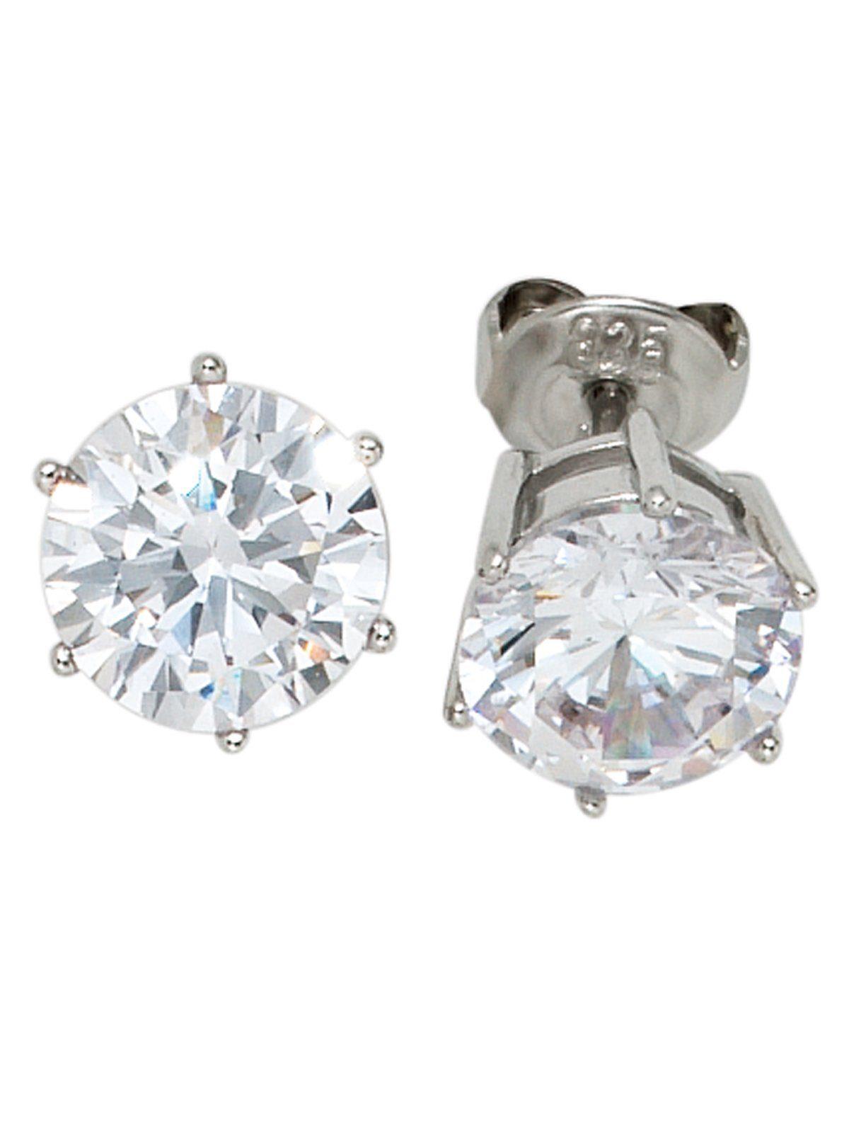 Adelia´s Paar Ohrstecker 925 Silber mit Zirkonia Ø 8,80 mm