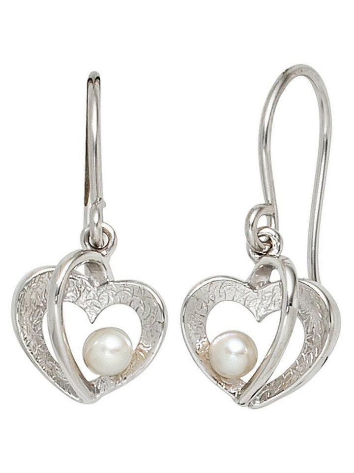 Adelia´s Paar Ohrhaken »Herz« 925 Silber mit Süßwasser - Zuchtperle | Schmuck > Ohrschmuck & Ohrringe > Ohrhaken | Adelia´s