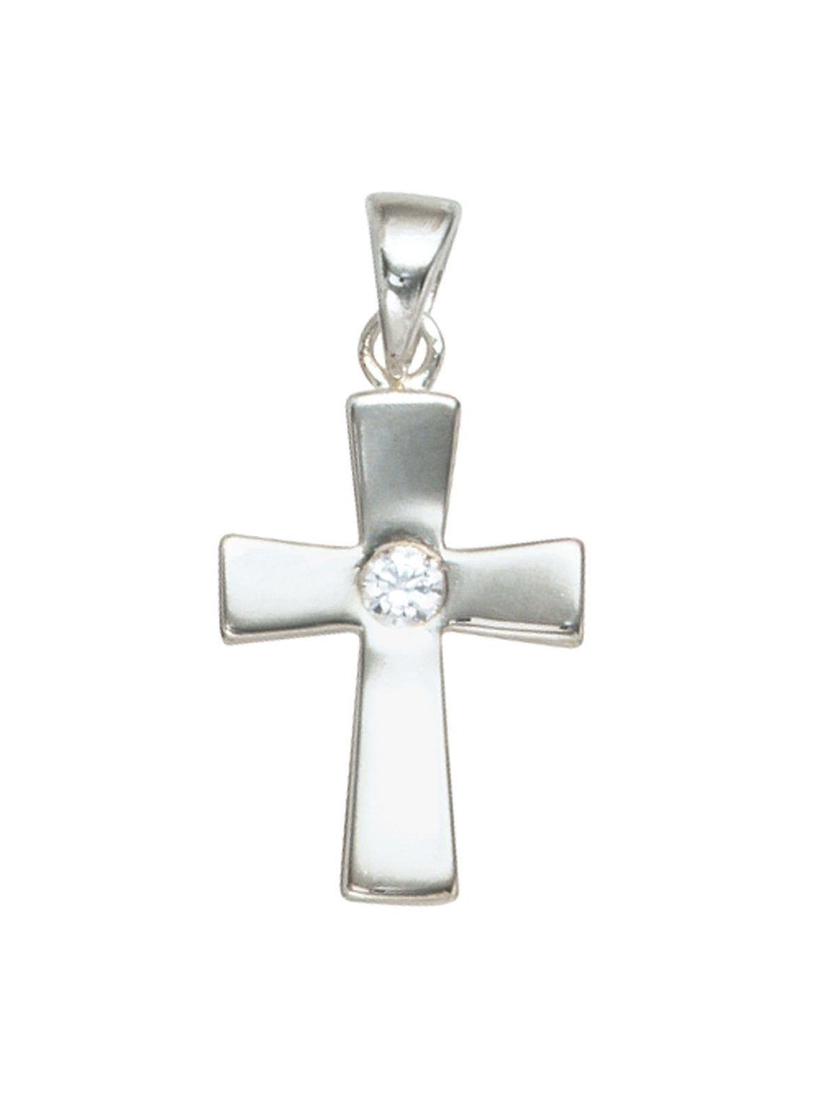 Adelia´s Kettenanhänger »Kreuz Anhänger« 925 Silber mit Zirkonia