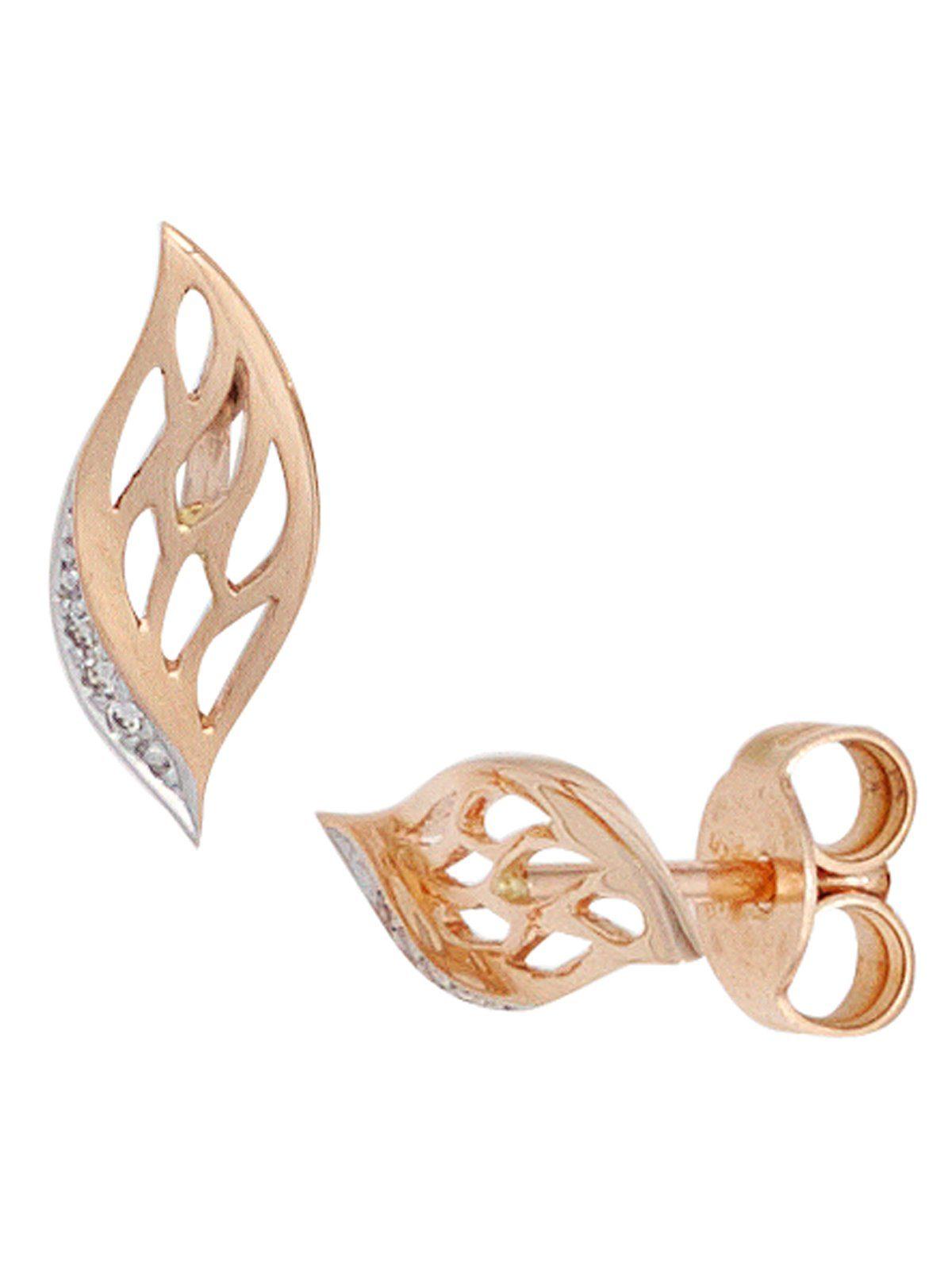 Adelia´s Paar Ohrstecker, 585 Gold mit Diamant