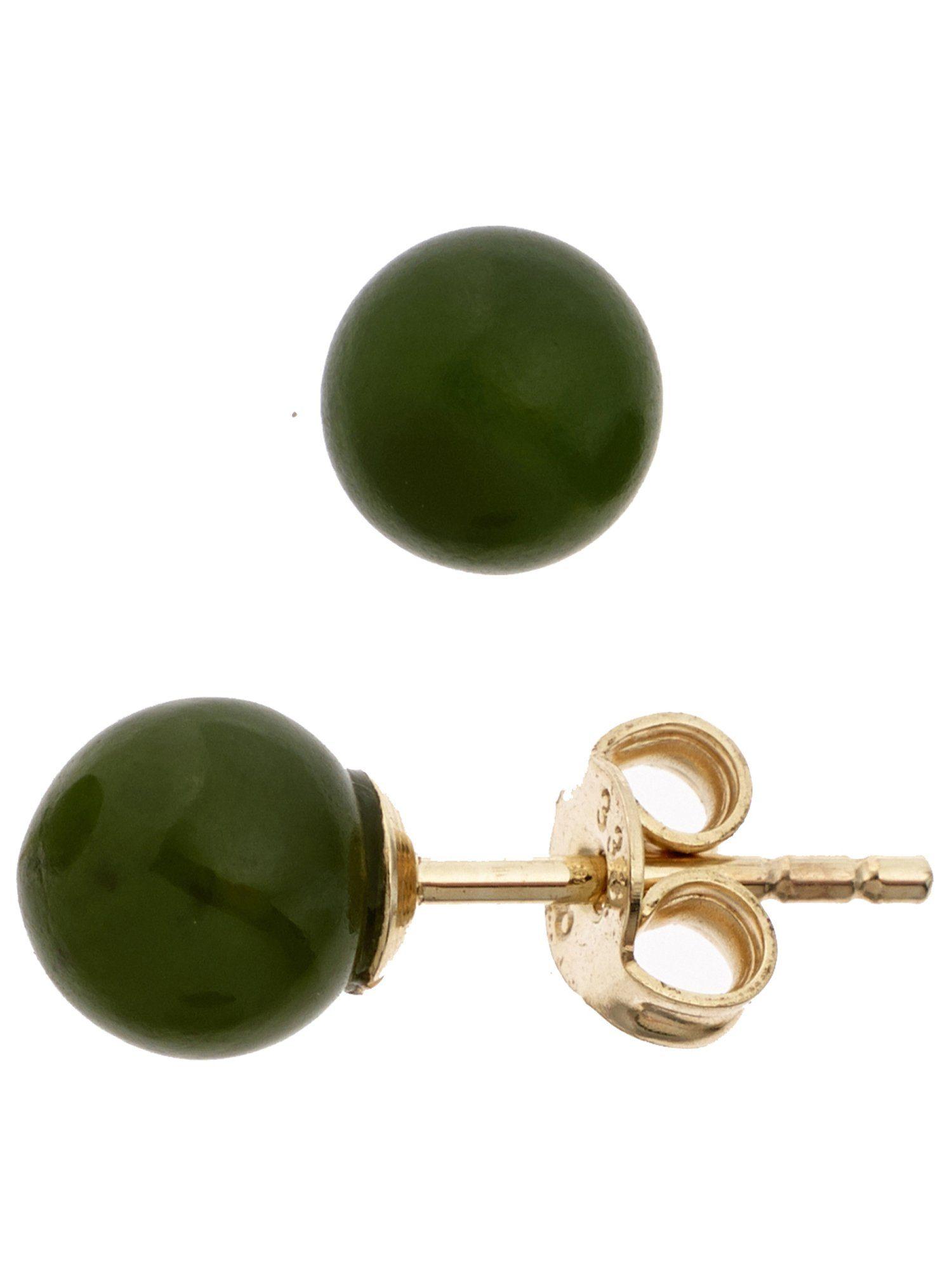 Adelia´s Paar Ohrstecker 333 Gold mit Jade Ø 6,40 mm