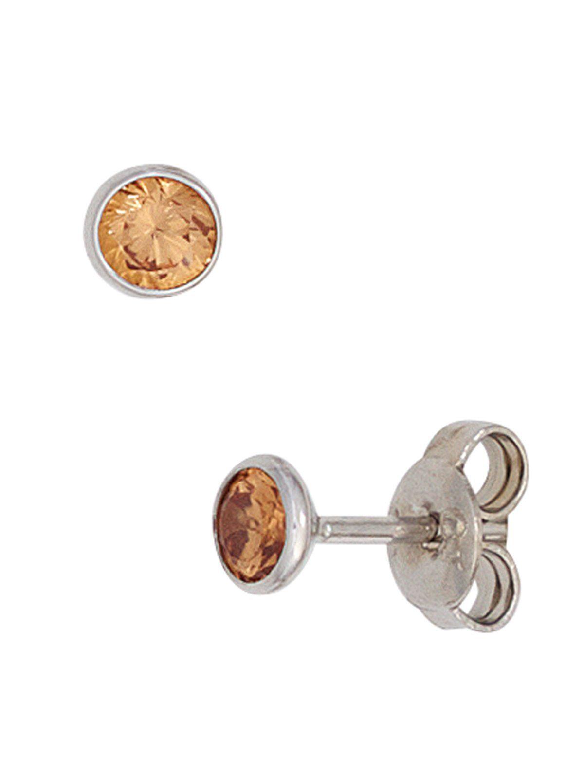 Adelia´s Paar Ohrstecker 925 Silber mit Zirkonia Ø 4,40 mm