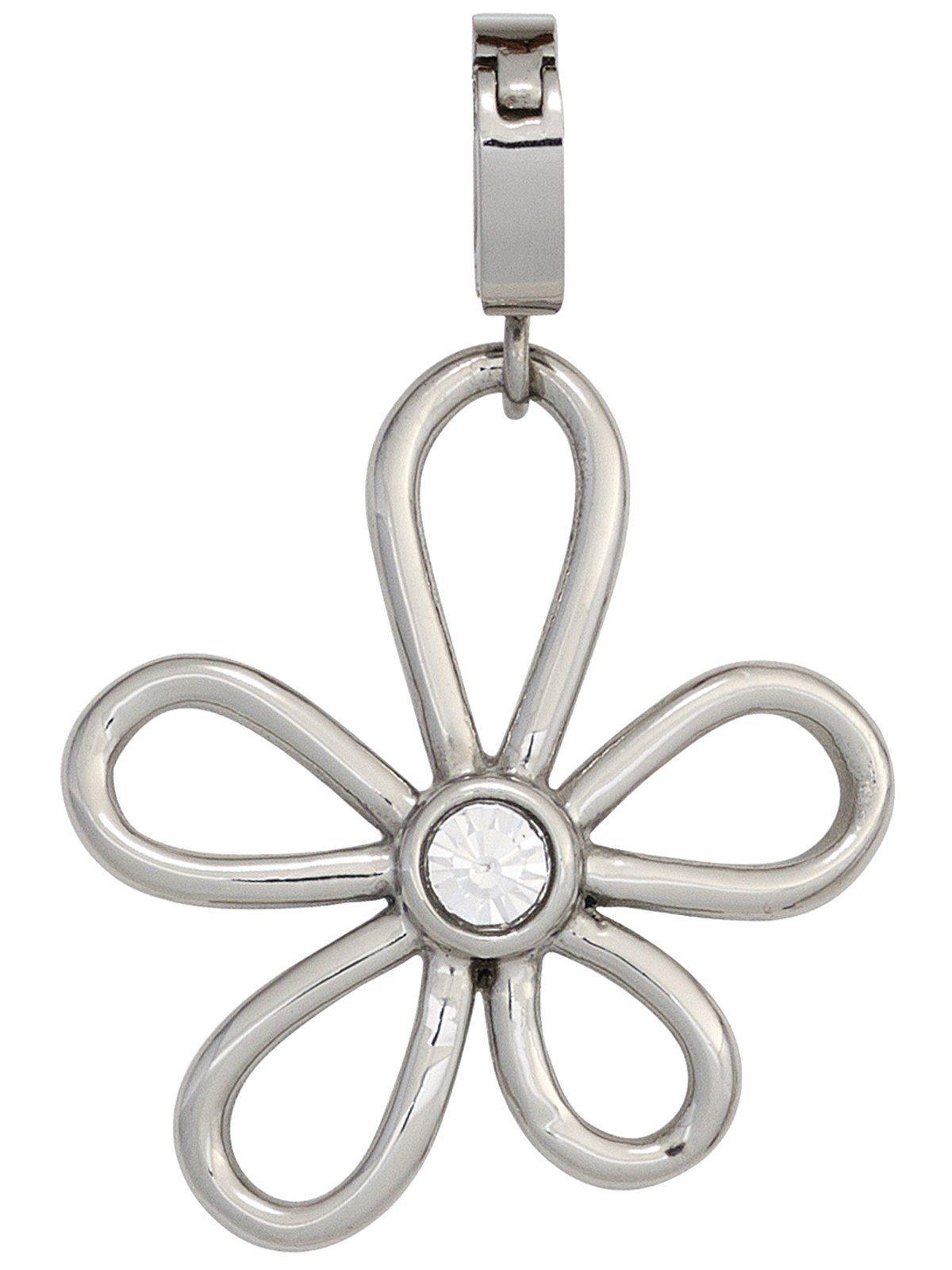 Adelia´s Kettenanhänger »Blume Anhänger« Edelstahl mit Swarovski Kristall