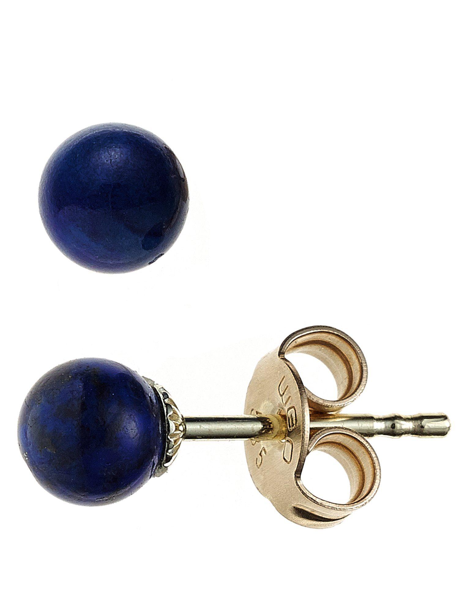Adelia´s Paar Ohrstecker, 585 Gold mit Lapis Lazuli