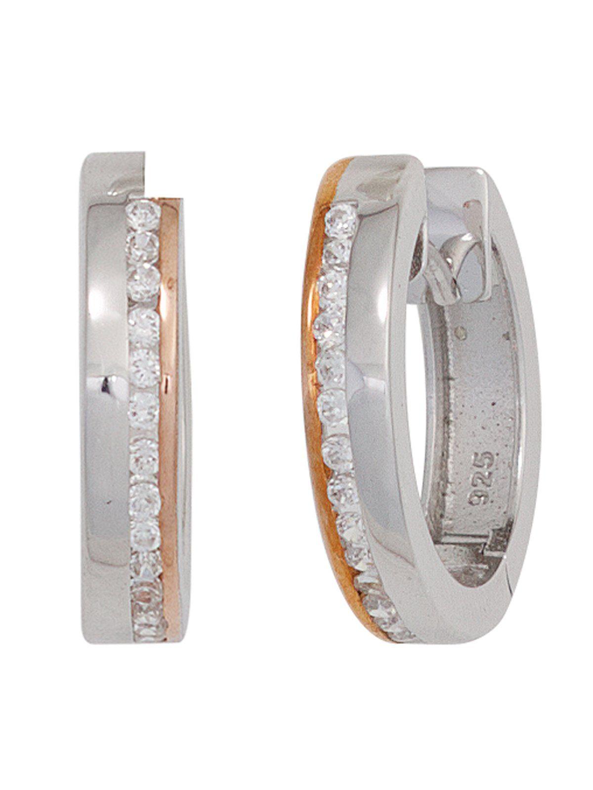 Adelia´s Paar Creolen 925 Silber mit Zirkonia Ø 19,30 mm