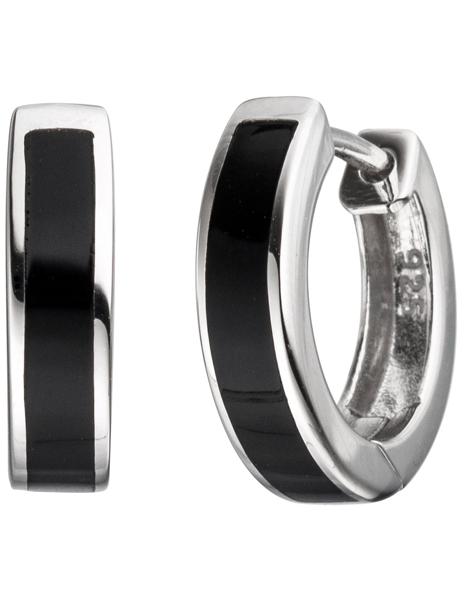 Adelia´s Paar Creolen 925 Silber mit Onyx Ø 14,60 mm