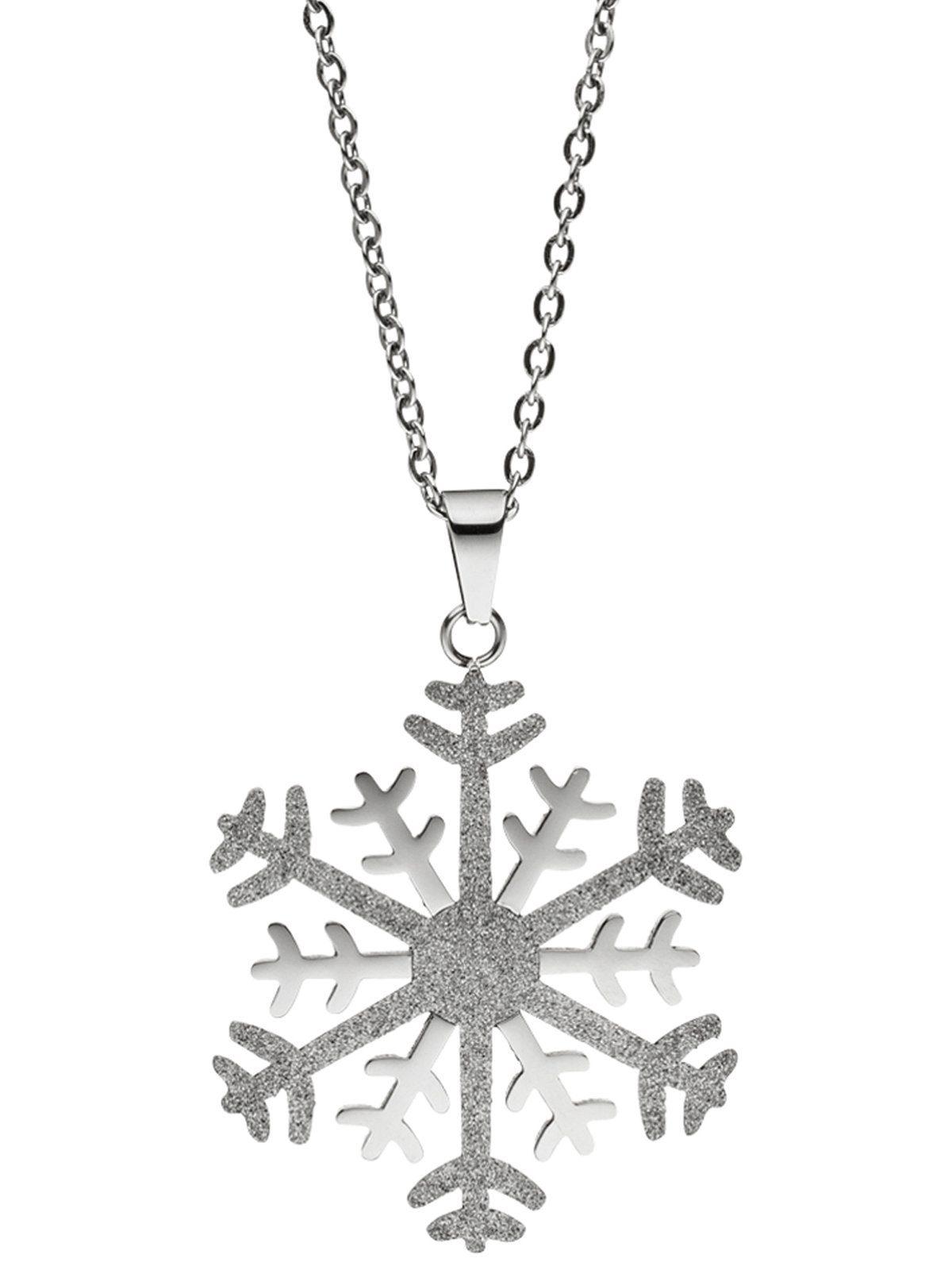 Adelia´s Kettenanhänger »Schneeflocke Anhänger« Edelstahl mit Kette L - 46 cm