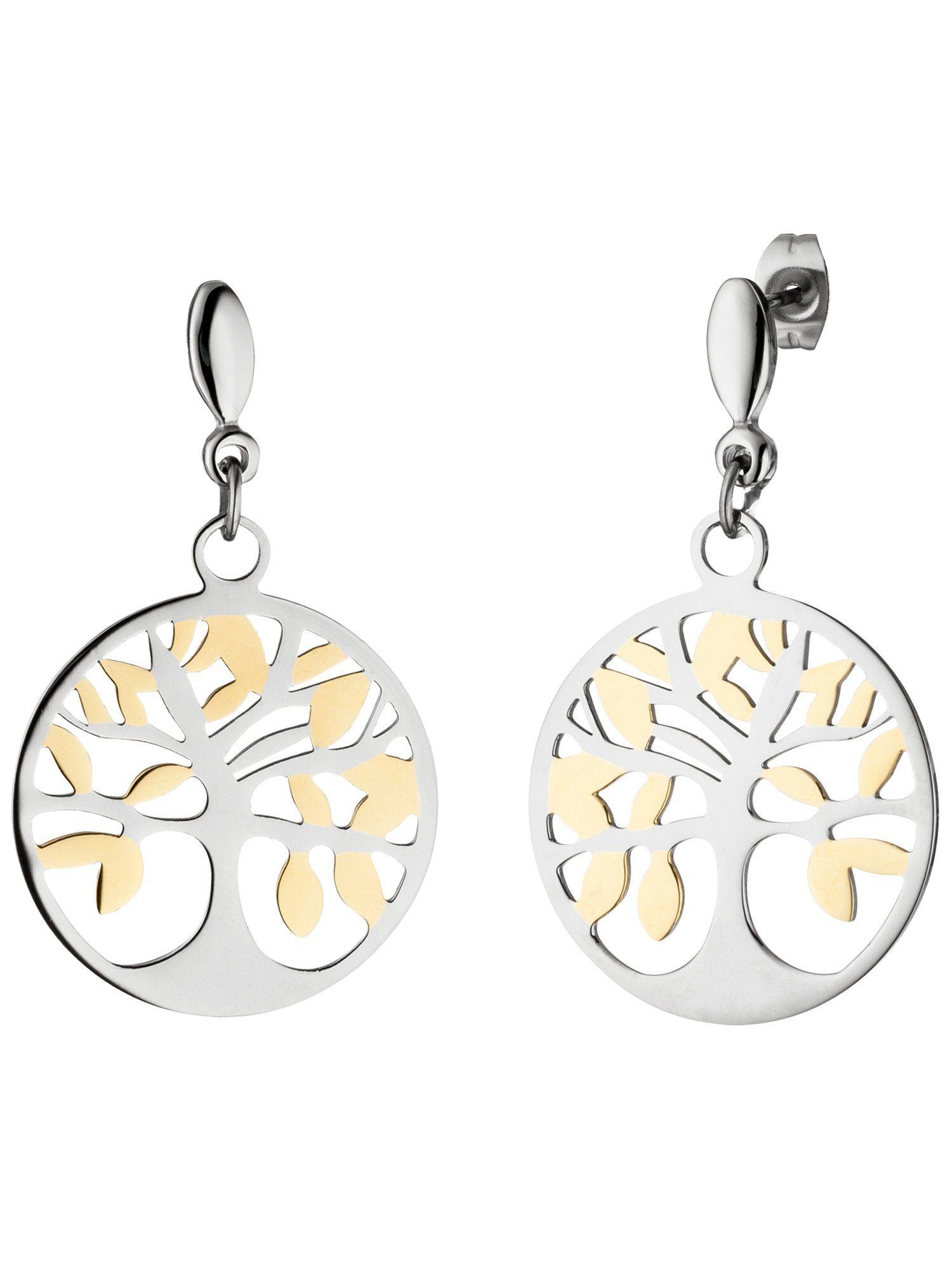 Adelia´s Paar Ohrhänger »Lebensbaum« Edelstahl