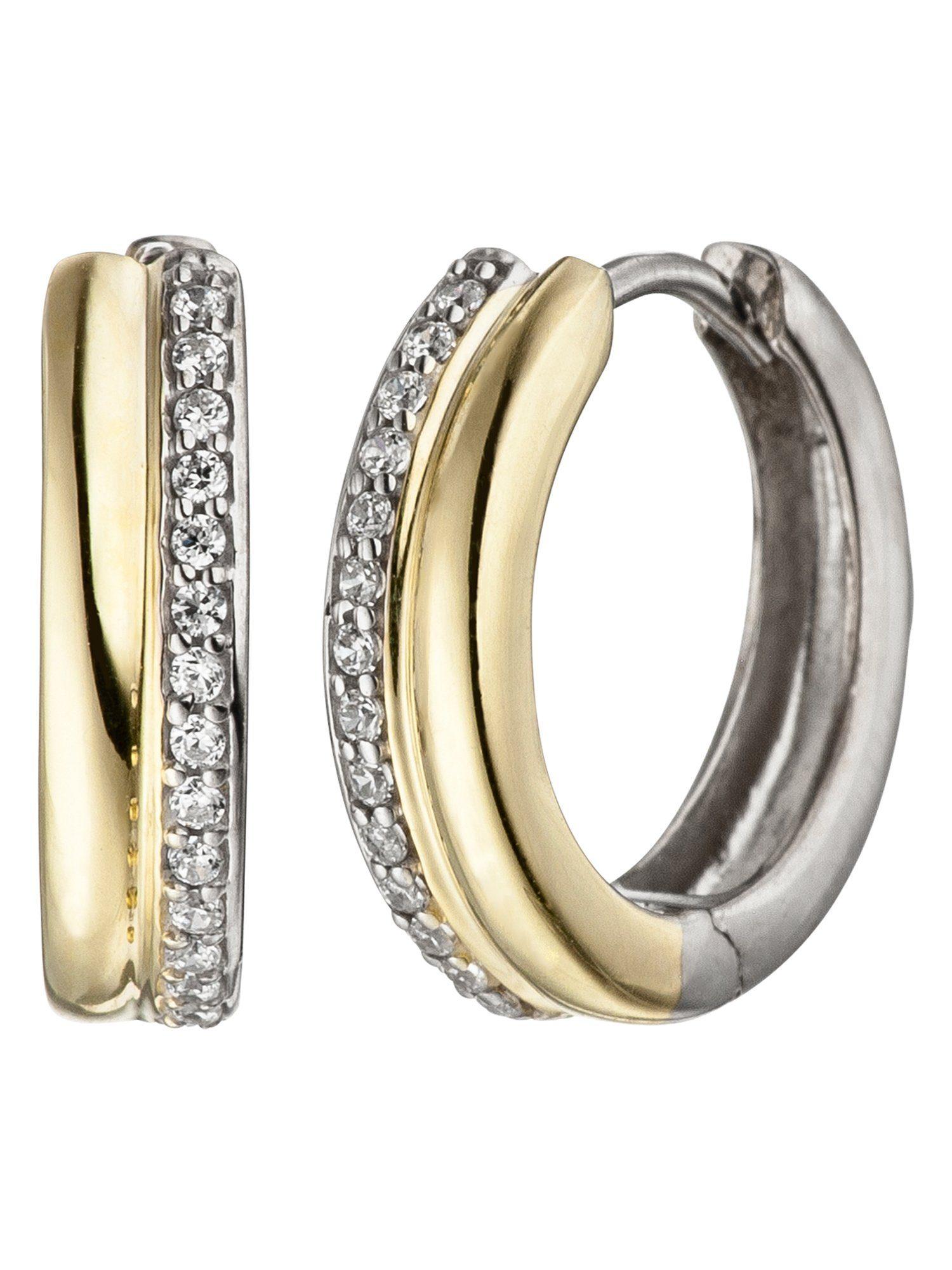 Adelia´s Paar Creolen 925 Silber mit Zirkonia Ø 15,00 mm