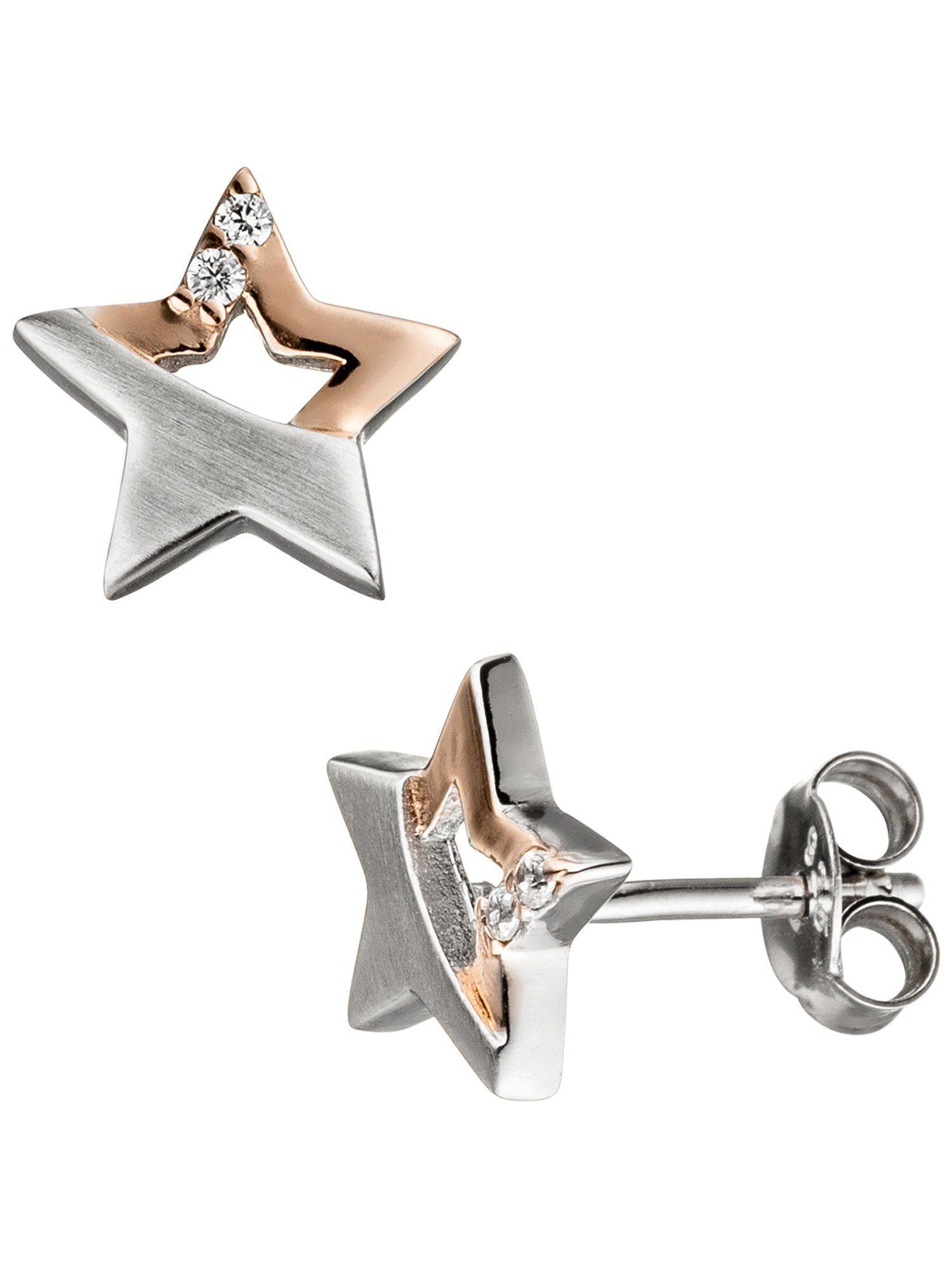 Adelia´s Paar Ohrstecker »Stern« 925 Silber mit Zirkonia