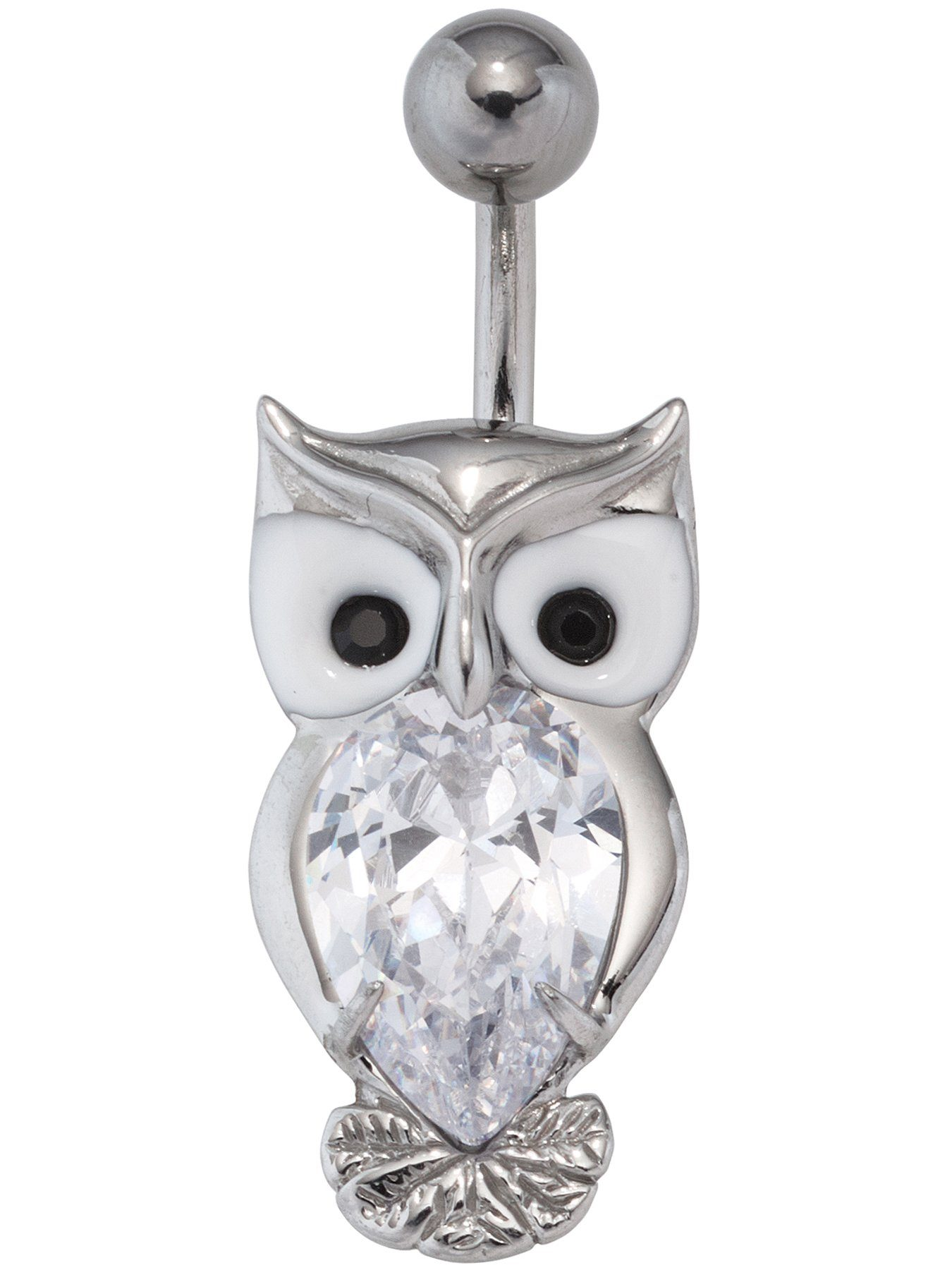 Adelia´s Bauchnabelpiercing »Eule« Edelstahl mit Swarovski Kristall