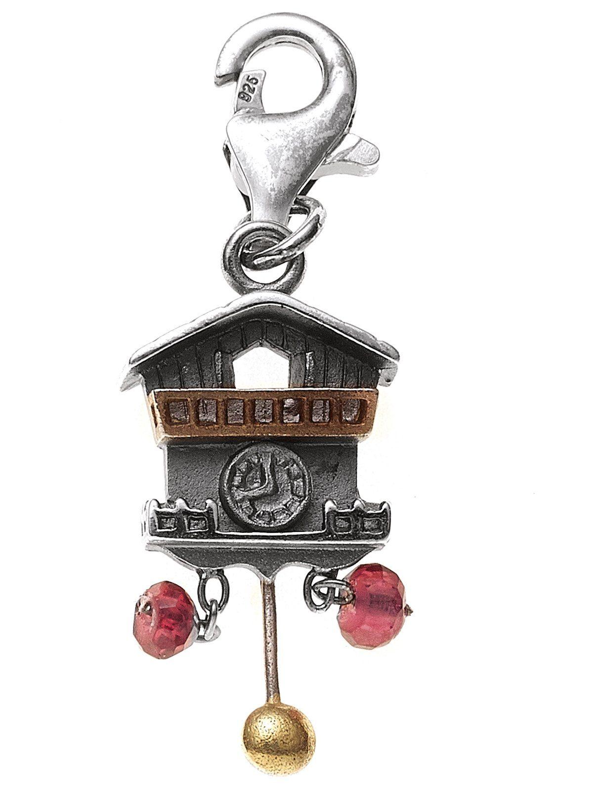 Adelia´s Kettenanhänger »Uhr Anhänger« 925 Silber mit Granat