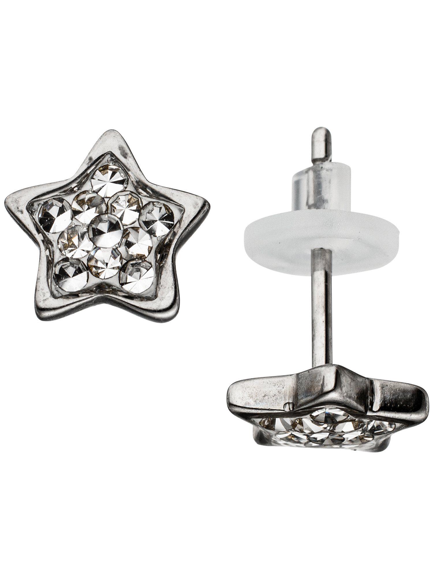 Adelia´s Paar Ohrstecker »Stern«, Edelstahl mit Swarovski Kristall