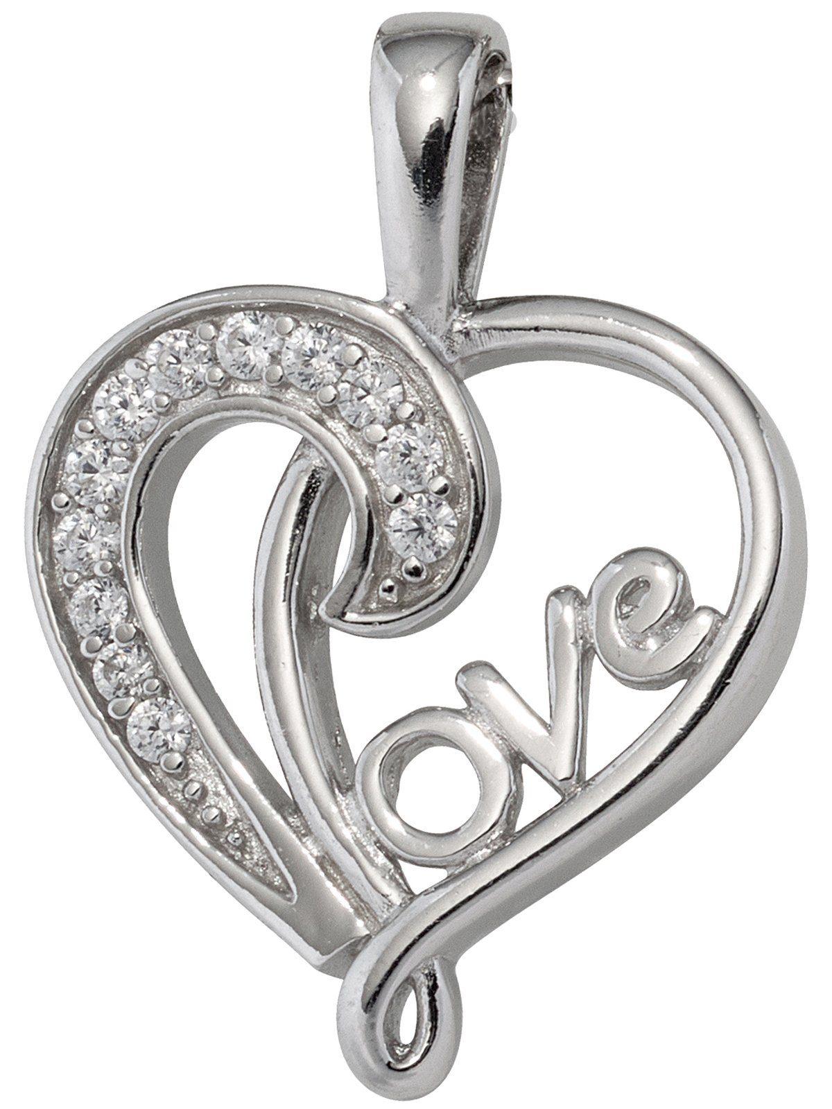 Adelia´s Kettenanhänger »Herz / LOVE Anhänger« 925 Silber mit Zirkonia
