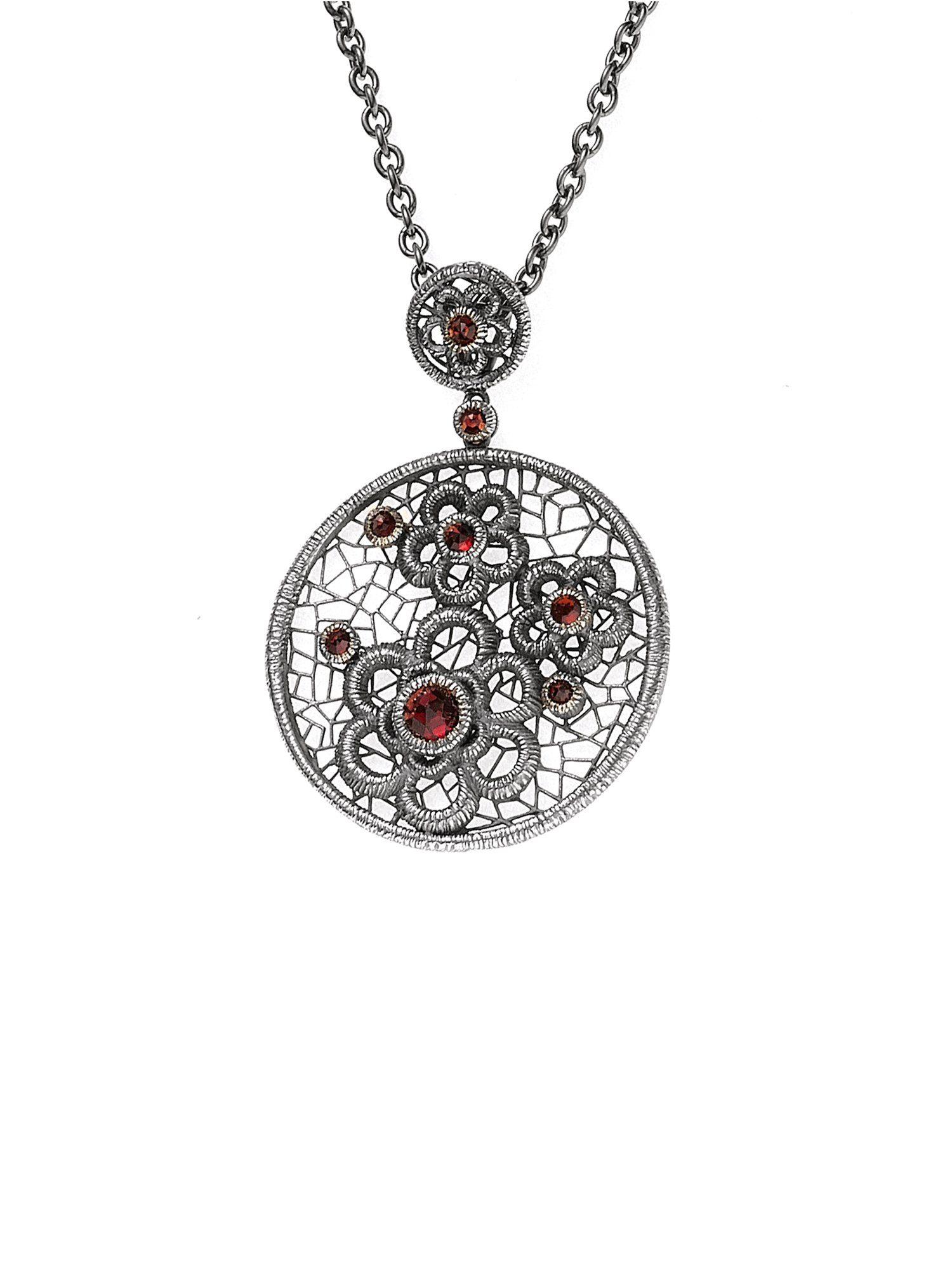 Adelia´s Kettenanhänger »Blumen Anhänger«, 925 Silber mit Granat
