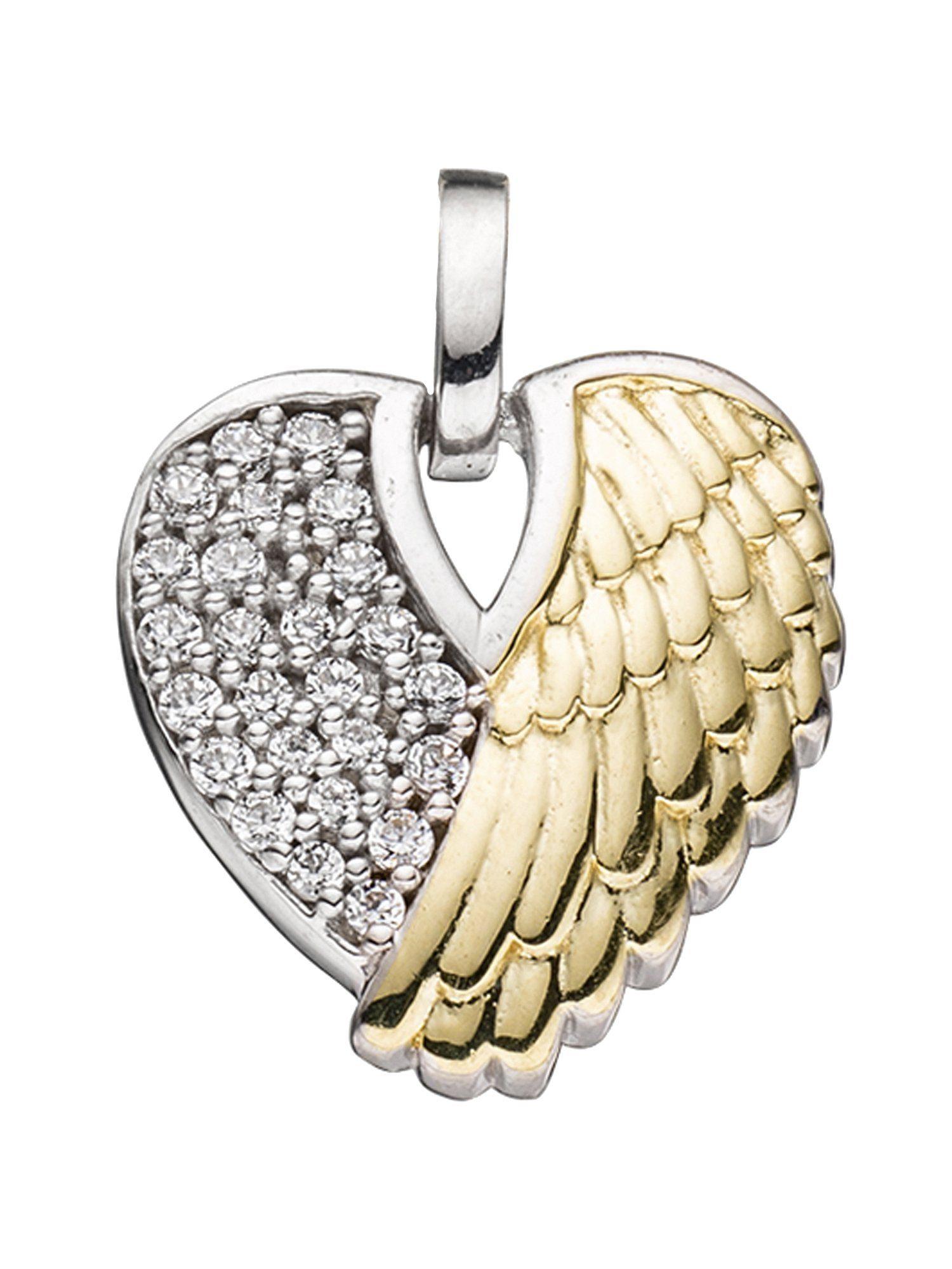 Adelia´s Kettenanhänger »Herz / Flügel Anhänger«, 925 Silber mit Zirkonia