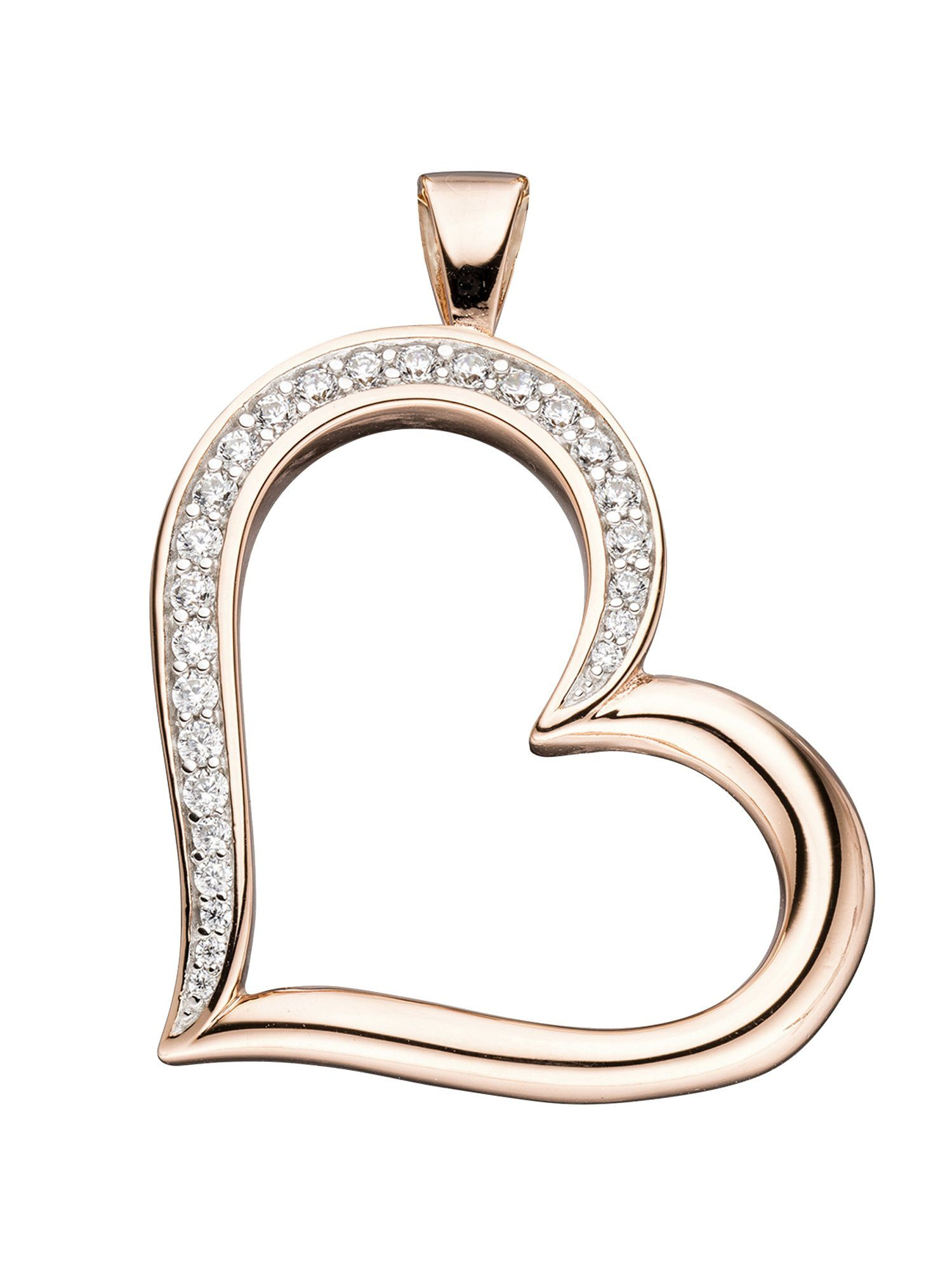 Adelia´s Kettenanhänger »Herz Anhänger« 925 Silber mit Zirkonia